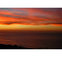 Wispy Sunrise On Pacific Fishing Boat Photographic Print