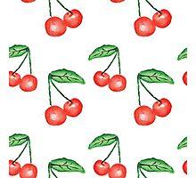 Watercolor cherries design Photographic Print