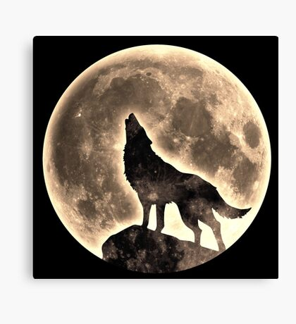 Howling Wolf, full moon, fullmoon, wild, dog, wolves Canvas Print
