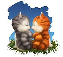 For LOVERS. For Beloved. Two kittens in love Photographic Print