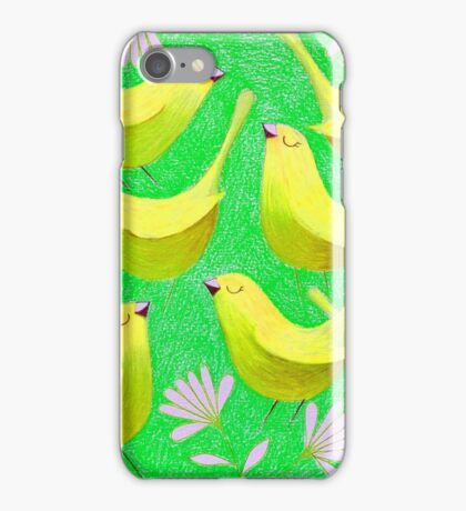 Gold birdies on lime iPhone Case/Skin
