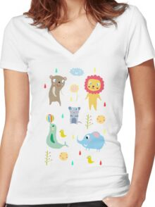 Zoo party Women's Fitted V-Neck T-Shirt