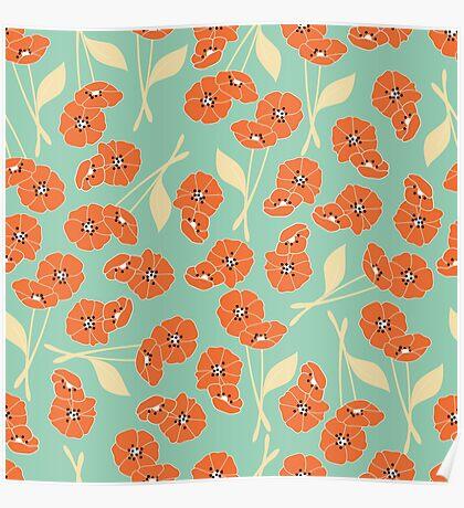 Retro flowers pattern 002 Poster