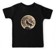 Howling Wolf, full moon, fullmoon, wild, dog, wolves Kids Tee