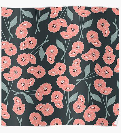 Retro flowers pattern 003 Poster
