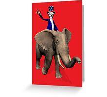 Uncle Sam Riding On Elephant Greeting Card