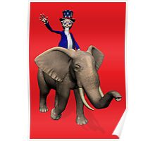 Uncle Sam Riding On Elephant Poster