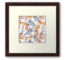 Pattern with forest animals. White background Framed Print