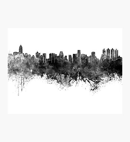 Bangkok skyline in black watercolor Photographic Print