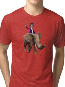 Uncle Sam Riding On Elephant Tri-blend T-Shirt