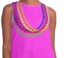 Mardi Gras Carnival Rainbow Necklace beads Contrast Tank