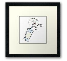 cartoon spraying whipped cream Framed Print