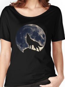 Wolf, moon, fantasy, wild, dog, wolves, sky, night Women's Relaxed Fit T-Shirt
