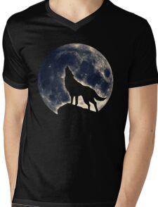 Wolf, moon, fantasy, wild, dog, wolves, sky, night Mens V-Neck T-Shirt