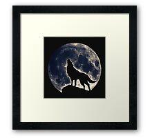 Wolf, moon, fantasy, wild, dog, wolves, sky, night Framed Print