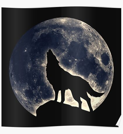 Wolf, moon, fantasy, wild, dog, wolves, sky, night Poster