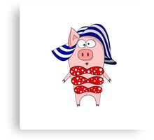 Pig in swimsuit and hat Canvas Print