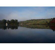 Lakeside Cottage Living - Gentle Morning Fog Photographic Print