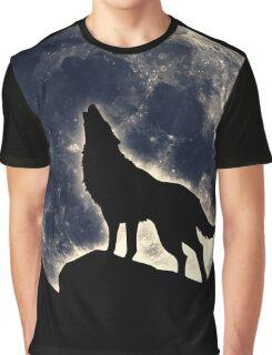 Wolf, moon, fantasy, wild, dog, wolves, sky, night Graphic T-Shirt