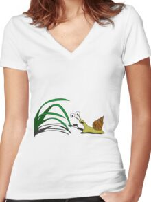 Snail on the grass Women's Fitted V-Neck T-Shirt