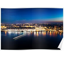 Amsterdam Skyline at Night Poster