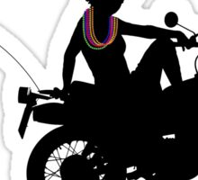 Sassy Biker Girl on Motorbike at Gay Pride Festival Sticker