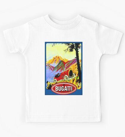 BUGATTI ; Vintage Grand Prix Auto Racing Print Kids Tee