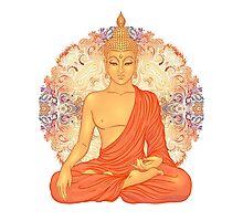 Golden Buddha + Mandala Photographic Print