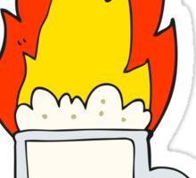 cartoon flaming tankard of beer Sticker