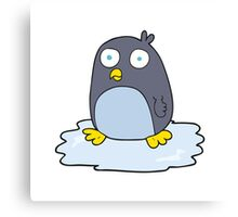 cartoon penguin on ice Canvas Print