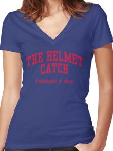 The Helmet Catch Women's Fitted V-Neck T-Shirt