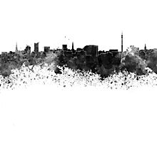 Dortmund skyline in black watercolor Photographic Print