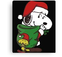 Santa Snoopy Christmas Canvas Print