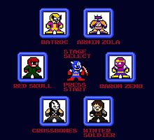 Captain America Screen Select (Megaman Style) by 8 Bit Hero