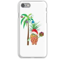Pineapple in red Christmas cap with a gift under a palm tree iPhone Case/Skin
