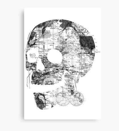 Skull Wanderlust Black and White Canvas Print