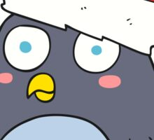 cartoon penguin in christmas hat Sticker