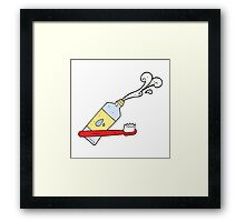 cartoon toothbrush and toothpaste Framed Print