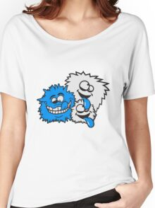 party crew feiern spaß gesicht comic cartoon verrückt crazy wahnsinnig hornbrille lustig lachen verwirrt psycho bescheuert blöd idiot nerd geek schlau  Women's Relaxed Fit T-Shirt