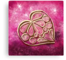 Pink Quill Heart Canvas Print