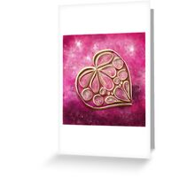Pink Quill Heart Greeting Card