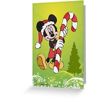 Mickey Mouse with Candycane Greeting Card