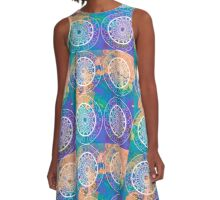 Mandala Vibes in orange & purple A-Line Dress