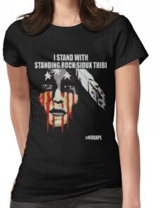 Native american, standing with rock Womens Fitted T-Shirt