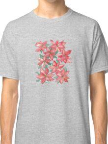 Watercolour Poinsettia Pattern Classic T-Shirt