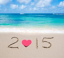 "Sign ""2015"" with heart on the sandy beach  by ellensmile"