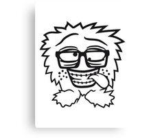 nerd geek schlau hornbrille zahnspange freak pickel haarig monster wuschelig verrückt lustig comic cartoon zottelig crazy cool gesicht  Canvas Print