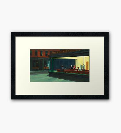 Vintage Edward Hopper Nighthawks Diner Framed Print