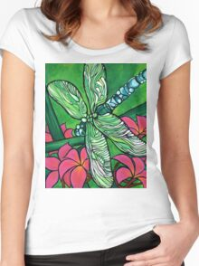 Dragonfly In Pink Women's Fitted Scoop T-Shirt