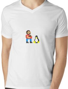 Tux and some linux guy Mens V-Neck T-Shirt